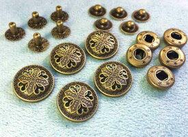 ● 飾りバネホック K 十字花 頭径17mm 5組入り アンティークゴールド(真鍮古美)