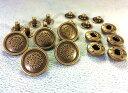● 飾りバネホック R バッジ 頭径17mm 5組入り アンティークゴールド(真鍮古美)