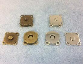 1361● マグネットホック 縫い付けタイプ 直径(外径)18mm 10個入り アンティークゴールド(真鍮古美) ニッケル 2色展開 マグネットボタン クラフト金具 四つカン 大