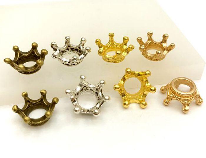 3465★ 金属チャーム 王冠 C 小 10個入り 立体 13*13mm 高6mm アンティークゴールド(真鍮古美) ゴールド マットゴールド 銀古美 リング形 クラウン