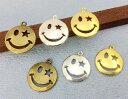 ★☆金属チャーム 笑顔 B 直径(外径)19mm 厚2.3mm 10個入り アンティークゴールド(真鍮古美) シルバー ゴールド 3色展開 透かし 星