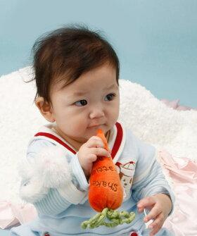 赤ちゃんの安心毛布ミニサイズとにんじんのガラガラギフトセット