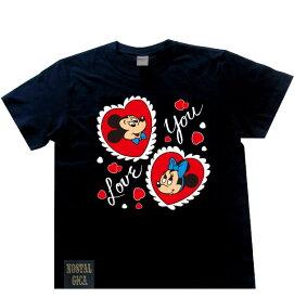 【当店ポイント10倍】Disney ディズニー ノスタルジカ Tシャツ ミッキー&ミニーアイラブユー ブラック L AWDS6079N