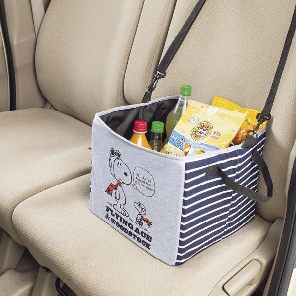 【Snoopy】収納ボックス 『フライングスヌーピー』グレー (約約30×30×25cm) 車内の整理に!
