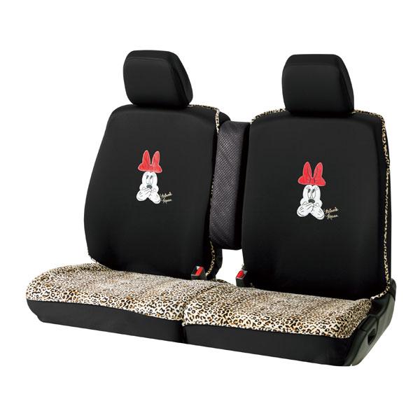 軽自動車ベンチシート汎用シートカバー 『ミニーレオパード』 汎用タイプ前2席 ブラック(ニット&ベロア生地)