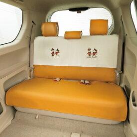 軽自動車〜コンパクトカー用後席シートカバー 『MMナチュラル』 汎用タイプ アイボリー (枕カバー3枚付)