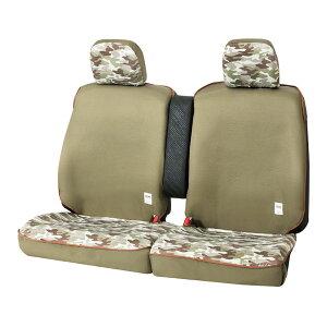 軽自動車ベンチシート汎用シートカバー『カモフラ』グリーン 運転席・助手席セット