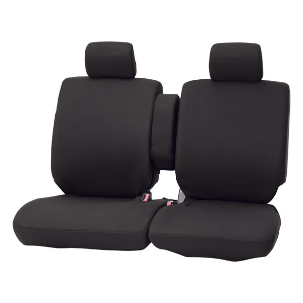 汎用・軽自動車ベンチフロント シートカバー『カラードカバー』ブラック (運転席・助手席セット)
