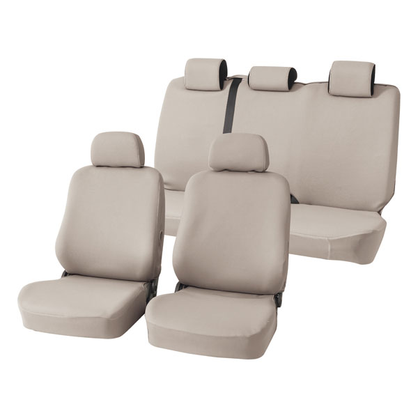 普通車汎用シートカバー 1台分セット『カラードカバー フリーMセット』 ベージュ (前:バケット/後:背・座一体式)