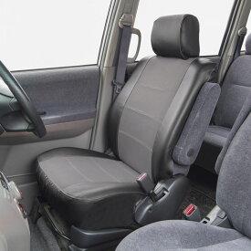 運転席・助手席兼用 ブラックレザー・グレーメッシュ素材 バケットタイプ汎用シートカバー 『ブリーズレザー』グレー(1席分)