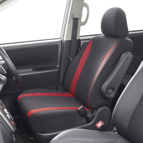 運転席・助手席兼用 バケットタイプフリーサイズシートカバー『ニット&メッシュ 』黒/赤 1席分