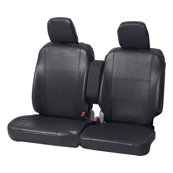 軽自動車ベンチシート用ソフトレザーシートカバー 『グランドレザー』カラー:ブラック 前席2枚セット