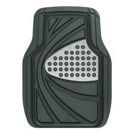 汎用3Dカーマット 前席用1枚 『デザインラバーマット』 約48×65cm 【ブラック/シルバー】