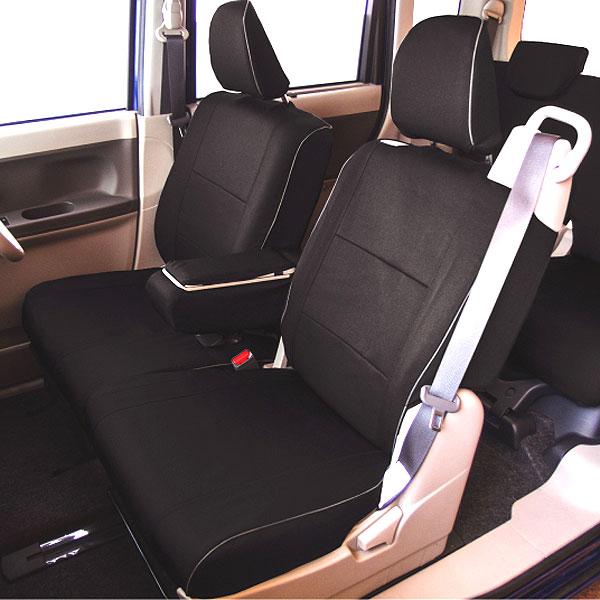 【M4-40】ダイハツ タント・タントカスタム(LA600S・610S)専用 撥水加工布シートカバー『ウォータープルーフ』(ブラック)1台分セット