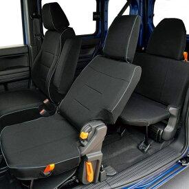 【M4-68】ホンダ N-VAN(AT車)専用 撥水加工布シートカバー『ウォータープルーフ』(ブラック)1台分セット