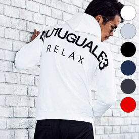 1PIU1UGUALE3 RELAX(ウノピゥウノウグァーレトレ) バックロゴプリントプルオーバーパーカ(ホワイト/グレー/ブラック/ネイビー/レッド/ダークグレー)