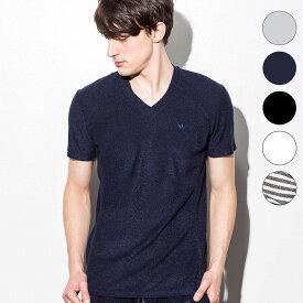 1PIU1UGUALE3 RELAX(ウノピゥウノウグァーレトレ) パイルVネックTシャツ(グレー/ネイビー/ブラック/ホワイト/ブラック×ホワイト)