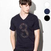 1PIU1UGUALE3RELAX(ウノピゥウノウグァーレトレ)ラインストーン3デザインTシャツ(ホワイト/ネイビー/ブラック)