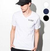 1PIU1UGUALE3RELAX(ウノピゥウノウグァーレトレ)デザインプリントポケット付Tシャツ(ホワイト/ネイビー/ブラック)