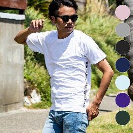 1PIU1UGUALE3 RELAX(ウノピゥウノウグァーレトレ) サイドロゴプリントTシャツ(ホワイト/ピンク/チャコール/ブラック/ロイヤルブルー/ライトブルー/パープル/ダークグリーン)