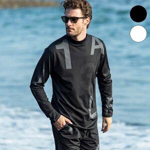 1PIU1UGUALE3 RELAX ウノピゥウノウグァーレトレ ランダムロゴ ラッシュガード モックネック Tシャツ メンズ 水着 海 プール 長袖 カットソー セットアップ かっこいい おしゃれ ブランド ウノピ
