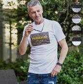 1PIU1UGUALE3RELAXウノピゥウノウグァーレトレボックスロゴ立体刺繍Tシャツメンズカットソーかっこいいおしゃれブランドウノピュウ