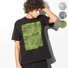 AKM Contemporary(エイケイエムコンテンポラリー) ラインカモプリントビッグTシャツ(ホワイト/ブラック×ホワイト/ブラック×イエロー)