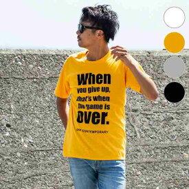 AKM Contemporary(エイケイエムコンテンポラリー) メッセージプリントTシャツ(ホワイト/オレンジ/ライトグレー/ブラック)