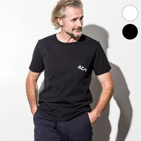 AKM Contemporary(エイケイエムコンテンポラリー) 刺繍ロゴポケットTシャツ(オフホワイト/ブラック)
