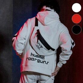 roarguns×hummel(ヒュンメル)ウエストバッグ(ホワイト/レッド/ブラック)