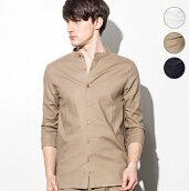 JHjunhashimoto(ジェイエイチジュンハシモト)ストレッチリネンスタンドカラーシャツ(ホワイト/カーキベージュ/ネイビー)