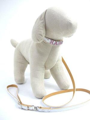 小型犬用首輪リード白・首輪とキラキラ文字は別売り