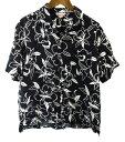 Hawaiian Sports wear ハイビスカス柄 半袖 アロハ シャツ L 黒×白 ○ メール便可 5400円以上ご購入で送料無料【BIG2…