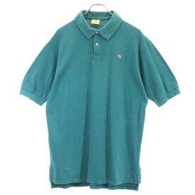 【中古】 ダックヘッド 90s USA製 ワンポイント 半袖 ポロシャツ L グリーン Duck Head 鹿の子 メンズ 【200624】