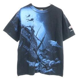 【中古】 アンヴィル プリント 半袖 Tシャツ L 黒 anvil バミューダトライアングル メンズ 【200616】 メール便可