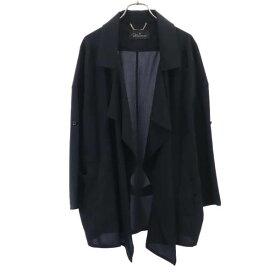 未使用 アナカ ドレープ ジャケット 38 ブラック Unaca 前開き 羽織 ロールアップ袖 レディース 【201212】