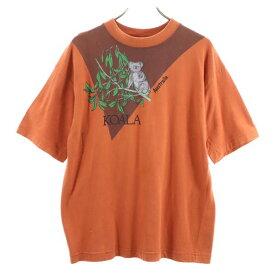 【中古】 コアラ 00s オーストラリア 半袖 Tシャツ L 茶系 KOALA アニマルプリント メンズ 【200711】 メール便可