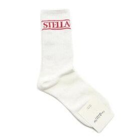 未使用 ステラ ロゴ ソックス 靴下 白×赤 STELLA レディース 【201202】 メール便可 【中古】