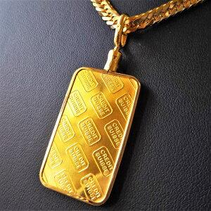 【純金 インゴット ネックレス】24金 スイスクレジット スクエア ロゴ ネックレス 20g 18金 ねじ枠 (送料無料 gold ingot necklace 24k k24 suisse credit jewelry)メンズ