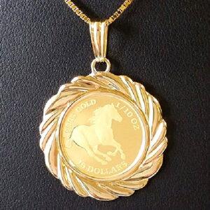 【純金 ネックレス コイン】ツバルホース金貨 ネックレス 1/10オンス 18金伏せ込枠4 コイン ペンダントトップ jewelry 馬