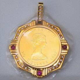 【純金 ネックレス コイン】24金 メイプル金貨 1/2オンス 18金 ダイヤ ルビー 飾り枠 保証書付