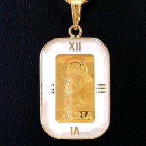 24金 聖母マリア金貨 1g 18金 角型白時計枠 ネックレス チェーン付ゴールドネックレス 純金コインペンダント k18枠 マリア様 スイス パンプ k24 (インゴットペンダント)