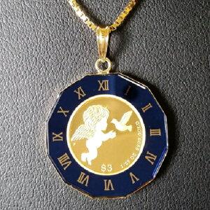 【純金 ネックレス コイン】24金 ツバルエンジェル金貨 純金ネックレス 1/25オンス 丸型青時計枠(小) 18金 純金コイン 純金ペンダントトップ エンゼル jewelry ブルー
