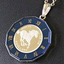 【プラチナ コイン ネックレス】ツバルホース プラチナ 1/25オンス K18ホワイトゴールド 青色丸時計枠 jewelry ブルー