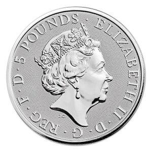 英国クイーンズビーストホワイトライオン銀貨2オンス