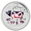 干支亥(ブタ)銀貨1オンスカラー2019年オーストラリアパース造幣局