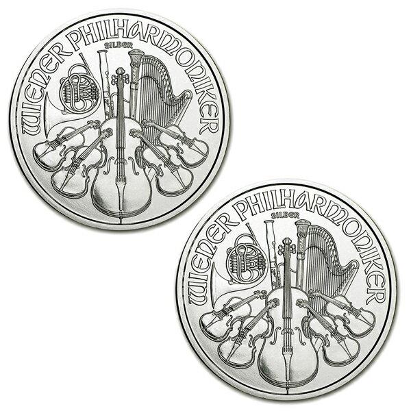 【ウィーン銀貨 1オンス 2個セット】 クリアケース入り オーストリア造幣局発行 純銀 コイン 地金型銀貨 silver coin 99.9% ag 新品 ウィーンフィル ビオラ パイプオルガン