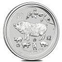【新品】「あす楽対応」『干支亥(ブタ)銀貨 1/2オンス 2019年製』純銀 コイン オーストラリアパース造幣局発行 15.55g…