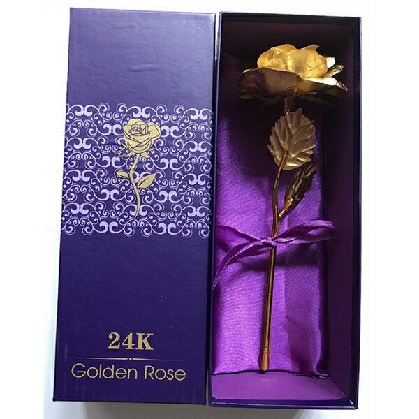 枯れることのない、美しい純金の金箔を貼りつけた 黄金盛りバラパープル化粧箱付き