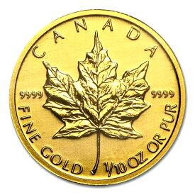 【保証書付き・巾着袋入り】 『メイプル金貨 1/10オンス ランダム・イヤー』 カナダ王室造幣局発行 3.11gの純金 コイン 品位:K24 (99.99%) 24金 メープル メイプルリーフ カナダ 金貨 金銀 金の購入 金の通販 貴金属 《安心の本物保証》